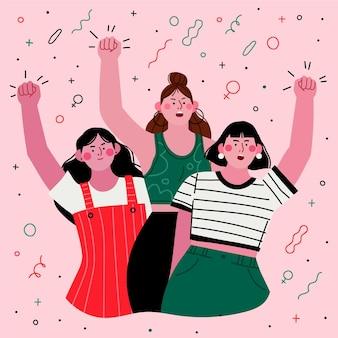 Płaskie ręcznie rysowane dzień kobiet