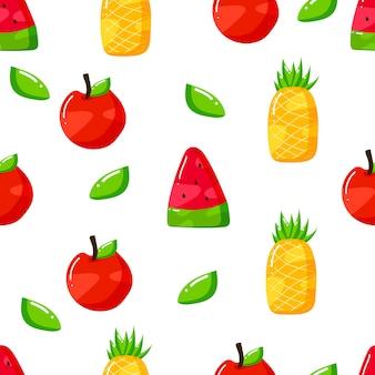 Płaskie ręcznie rysowane letnie owoce bez szwu wzornictwo