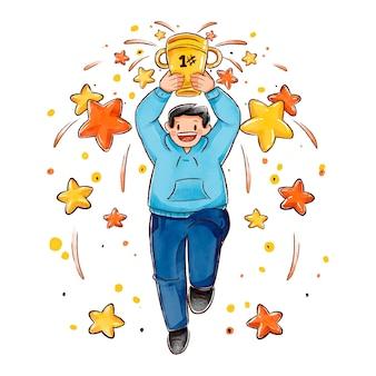 Płaskie ręcznie rysowane ludzie świętują ilustrację osiągnięcia