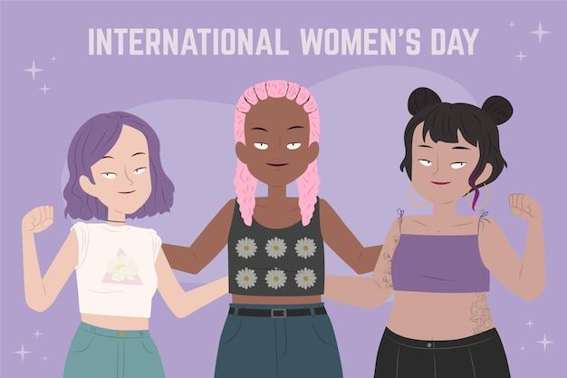 Płaskie ręcznie rysowane międzynarodowy dzień kobiet