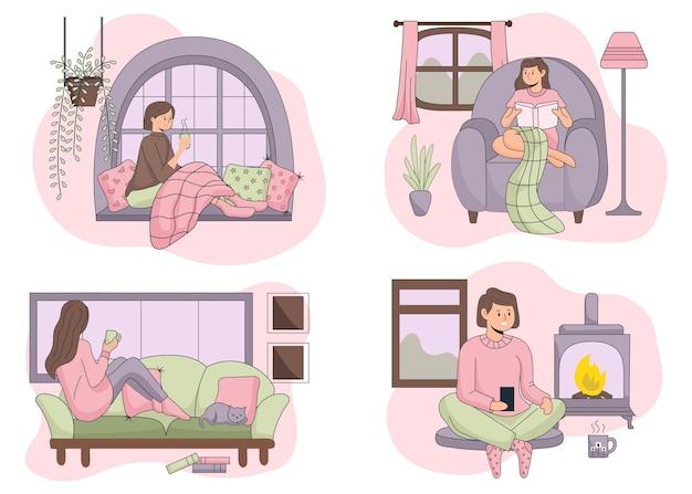 Płaskie ręcznie rysowane sceny stylu życia hygge