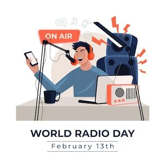 Płaskie ręcznie rysowane tła światowy dzień radia z człowiekiem