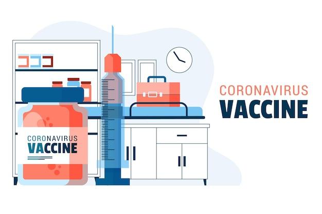 Płaskie ręcznie rysowane tło szczepionki koronawirusa