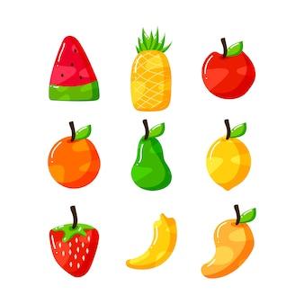 Płaskie ręcznie rysowane zestaw kolekcji owoców