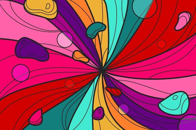 Płaskie ręcznie rysowane żywe kolorowe tło groovy