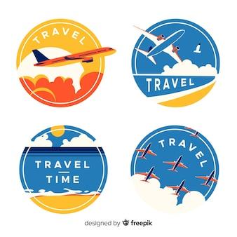 Płaskie rocznika etykiety podróżne