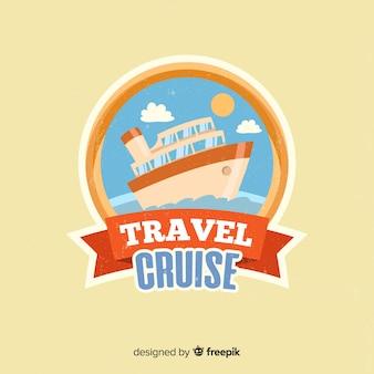 Płaskie rocznika logo podróży