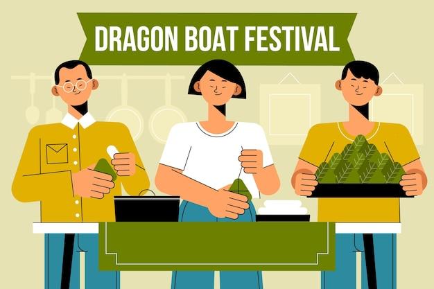 Płaskie rodziny smoczych łodzi przygotowują i jedzą ilustrację zongzi