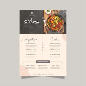 Płaskie rustykalne menu restauracji ze zdjęciem