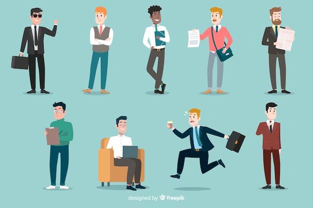 Płaskie sceny ludzi w biurze