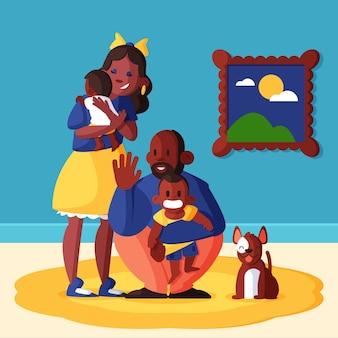 Płaskie sceny rodzinne