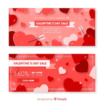 Płaskie serca valentine sprzedaży transparent