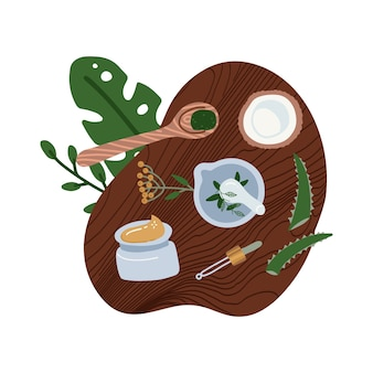 Płaskie składniki kosmetyków naturalnych - rośliny, kokos. widok z góry na domowy kosmetyk organiczny. ręcznie robione kosmetyki.