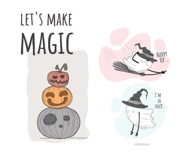 Płaskie słodkie dyni halloween ilustracja