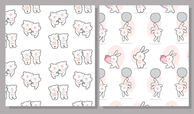Płaskie słodkie dzieci niedźwiedź kolekcja wzór zestaw