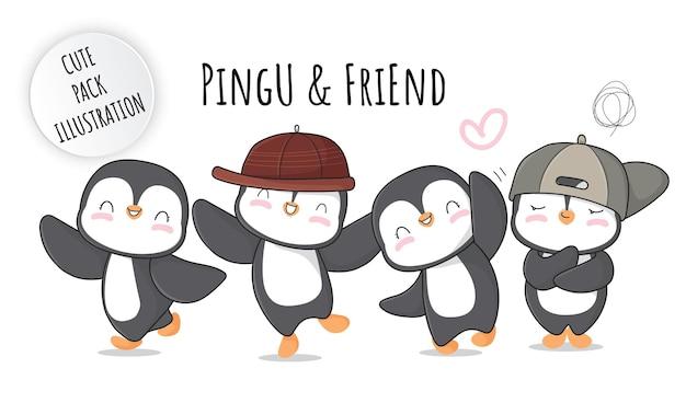 Płaskie słodkie dziecko pingwina fajna kolekcja ilustracji