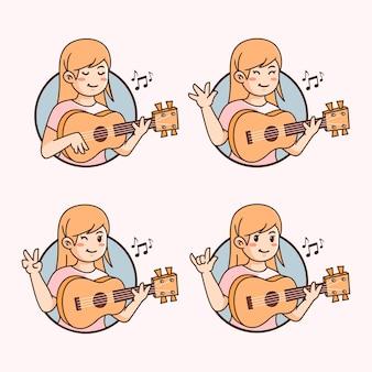 Płaskie słodkie dziewczyny ukulele ilustracja