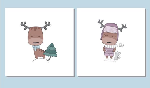 Płaskie słodkie jelenie zestaw ilustracji