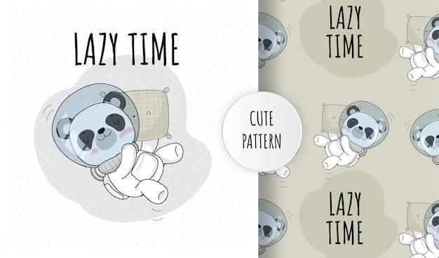 Płaskie słodkie zwierzę astronauta panda śpi na kosmosie