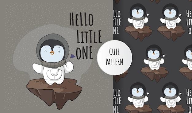 Płaskie słodkie zwierzę astronauta pingwin mały bohater na przestrzeni