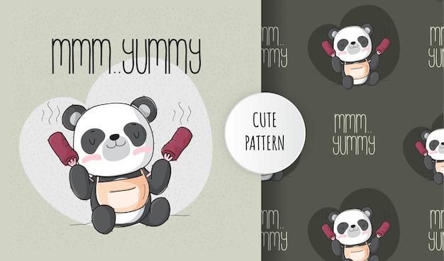 Płaskie słodkie zwierzę szczęśliwa panda jedzenie zestaw wzorów