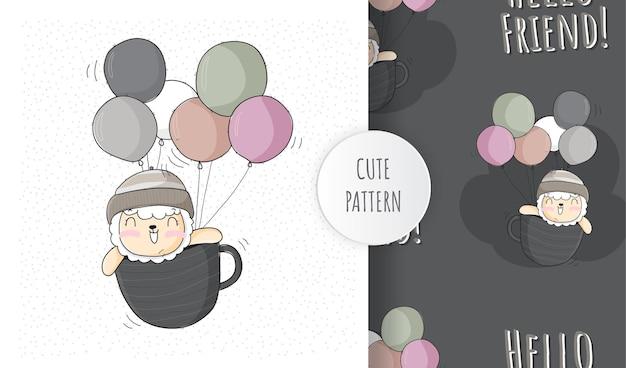 Płaskie słodkie zwierzęce lamy szczęśliwe latanie z zestawem wzoru balonu