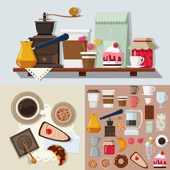 Płaskie słodycze deser słodycze sklep s obiektów makieta. zestaw ikon słodkich produktów narzędzi do budowy stolika kawowego. kolekcja zestawów.