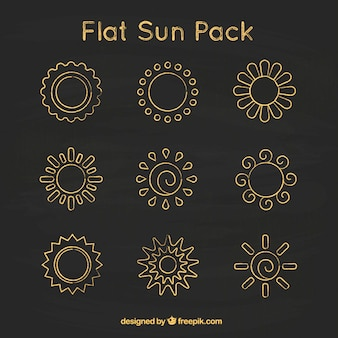 Płaskie słońca na tablicy