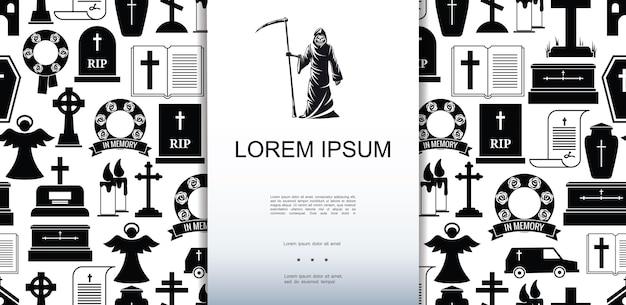 Płaskie śmierć ikony wzór