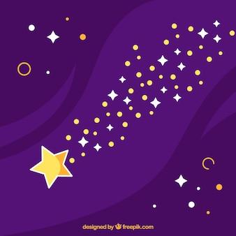 Płaskie spadające gwiazdy tło