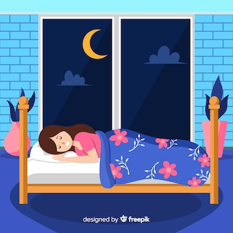 Płaskie śpiące tło dziewczyna