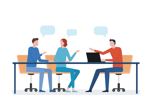 Płaskie spotkanie zespołu biznesowego i koncepcja pracy