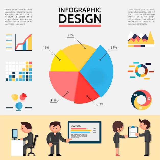 Płaskie streszczenie plansza z wykresami, wykresami, diagramami i ludźmi biznesu w różnych sytuacjach