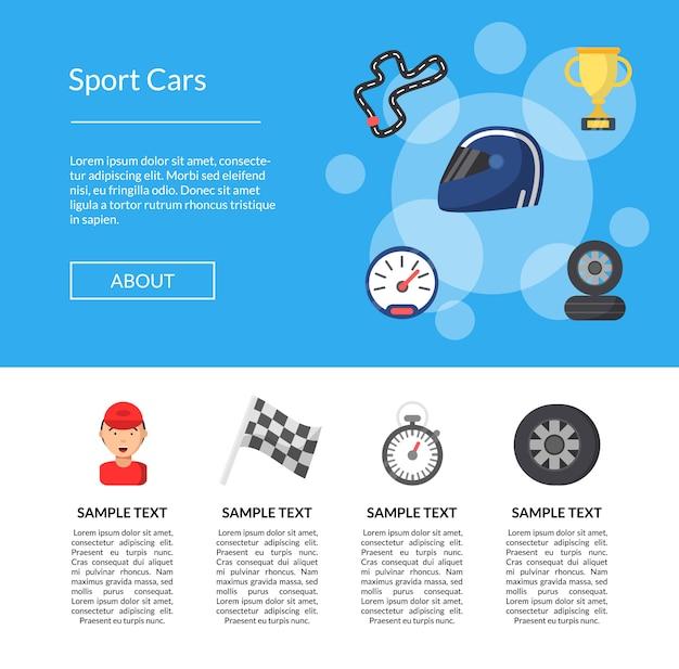 Płaskie strony wyścigowe ikony szablonu strony docelowej