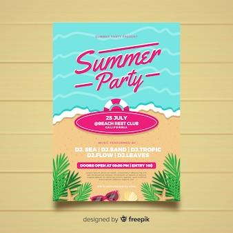 Płaskie styl lato party plakat szablon