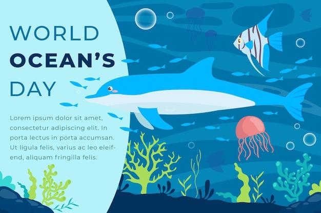 Płaskie styl światowy dzień oceanów transparent