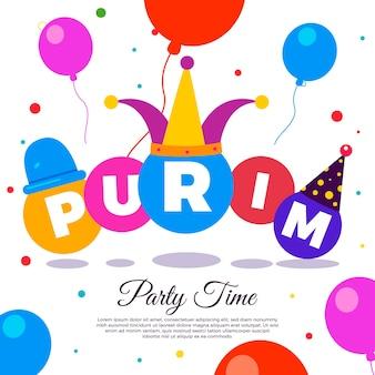 Płaskie styl szczęśliwy dzień purim z balonów