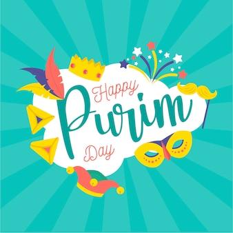Płaskie styl szczęśliwy dzień purim z koroną