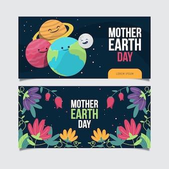 Płaskie styl transparent dzień matki ziemi