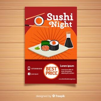 Płaskie sushi chińska restauracja ulotki