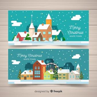 Płaskie świąteczne banery miasta