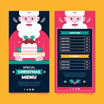 Płaskie świąteczne menu restauracji