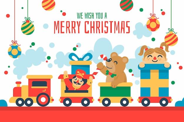 Płaskie świąteczne zabawki tło
