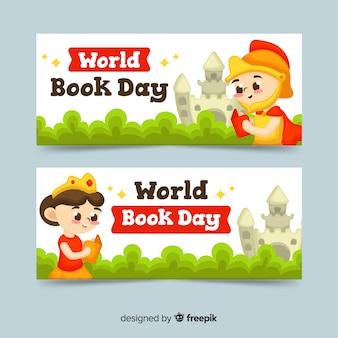Płaskie światowe książki dzień banery