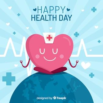 Płaskie światowe tło zdrowia