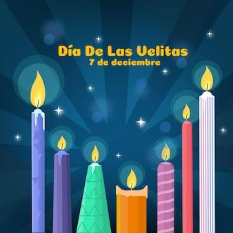 Płaskie świece dia de las velitas