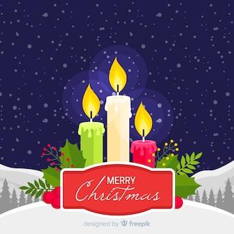 Płaskie świeczki świąteczne tło