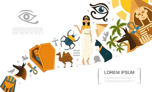 Płaskie symbole egiptu koncepcja z krzyżem ankh wielbłąd egipski kot skarabeusz chrząszcz anubis bóg faraon maski sfinks horus oko piramidy kleopatra dłonie ilustracja,