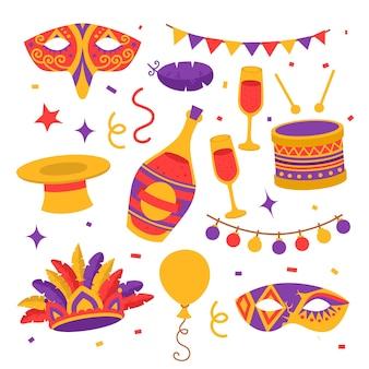 Płaskie symbole karnawałowe, maski, czapki, konfetti z flagami, balony i bęben, butelka szampana w okularach