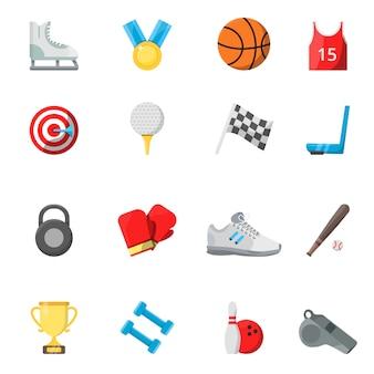 Płaskie symbole sportowe w stylu wektorowym